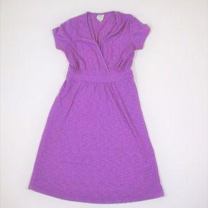 Title Nine S Purple Knit Surplice Dress Cap Sleeve